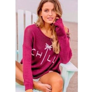 NWT Wooden Ships Chill Crewneck Knit Torch Pink
